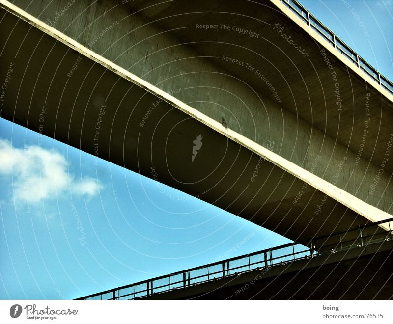 Sky Concrete Safety Bridge Highway Crucifix Traffic infrastructure Handrail Crossroads Bridge railing Road junction Across Expressway exit Highway junction