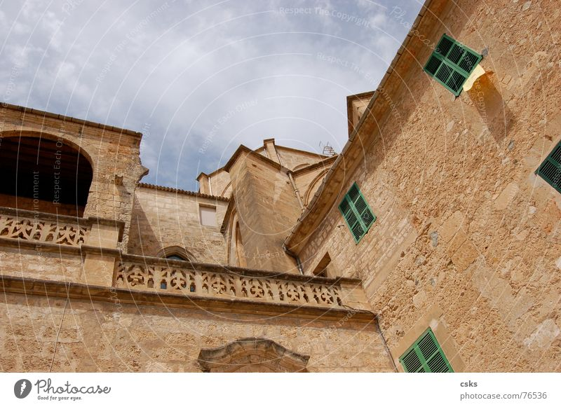 Old Sky Green Blue Clouds Stone Building Brown Religion and faith Brick Historic Spain Majorca Beige Sineu