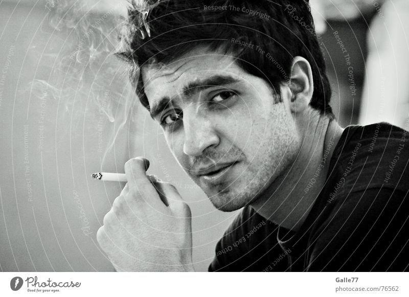 Old Charmer Man Portrait photograph Cool (slang) Easygoing Clever Cigarette charming Looking Smoke
