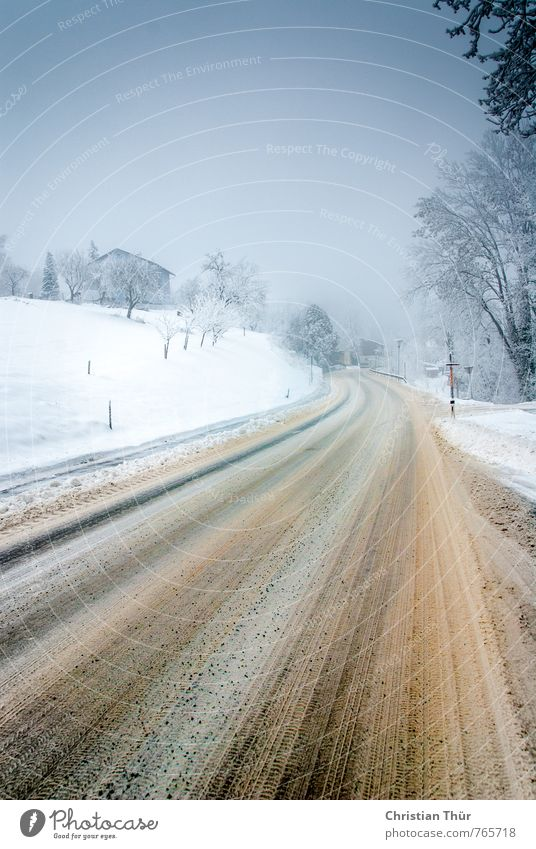 winter road Cloudless sky Winter Bad weather Snow Snowfall Small Town Deserted Road traffic Motoring Street Vacation & Travel Blue Brown Gray White Dangerous