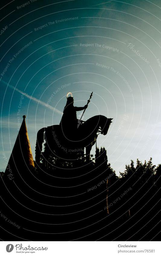 Sky Blue Black Dark Horse Tourism Strong Monument Historic Landmark Weapon Rider Unwavering Christianity Budapest Hungarian