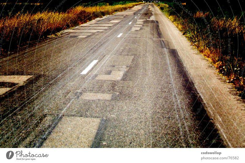 Street Transport Trip Asphalt France Traffic infrastructure Repair Sharp-edged Provence Lane markings Patchwork Camargue