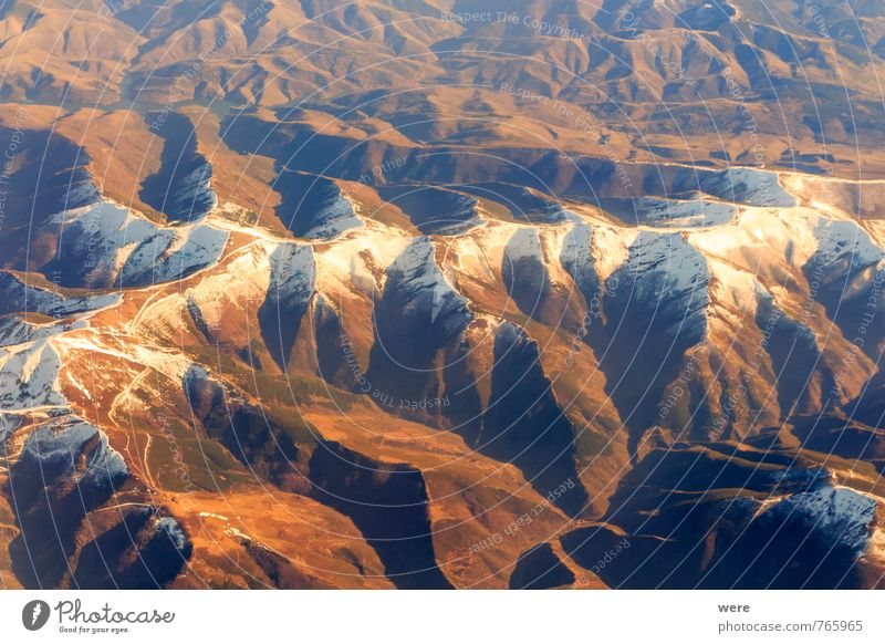 ridges Mountain Landscape Peak Snowcapped peak Aviation Airplane Flying Vacation & Travel flight Geography Subdued colour Aerial photograph Deserted