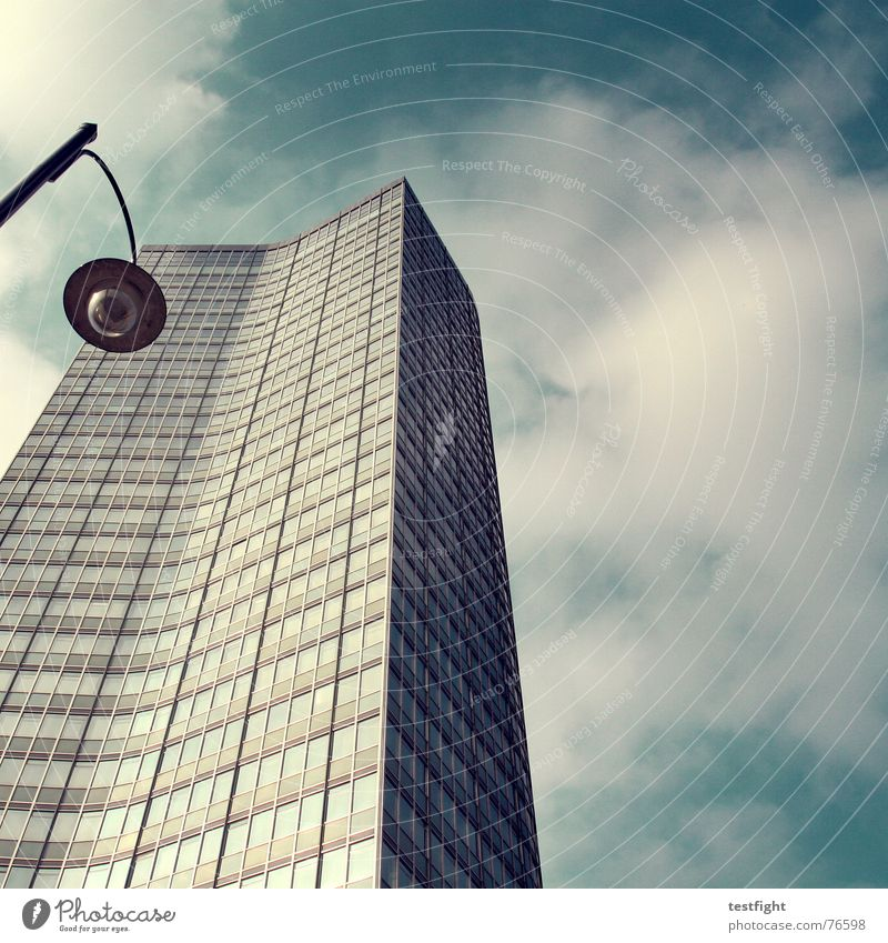 Sky Blue Clouds Loneliness Lamp Life Cold Work and employment Building Business Lighting Glass Concrete High-rise Tall