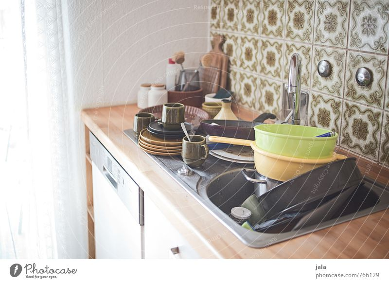 dish washing Crockery Living or residing Flat (apartment) Interior design Furniture Kitchen Kitchen sink Threat Rinse Do the dishes Dirty Many Colour photo
