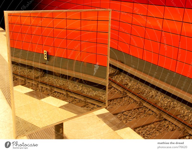 Red Black Stone Line Room Perspective Mirror Railroad tracks Tile Underground Tunnel Train station Mirror image Platform Warning stripes Frankfurter Allee