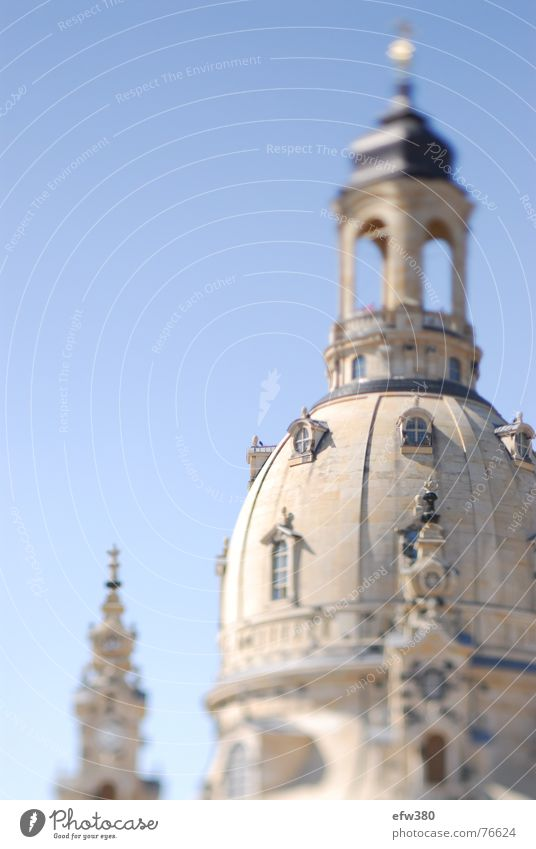 architectural perfection Dresden Sun Blur Sandstone Frauenkirche Religion and faith to our dear women Blue sky george bähr