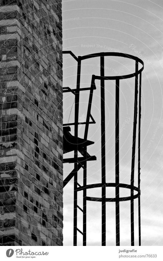 ascent Brick Wall (barrier) Clouds Round Black White Gray Derelict Detail Black & white photo Chimney Ladder Sky Tall Above Metal Protection Line