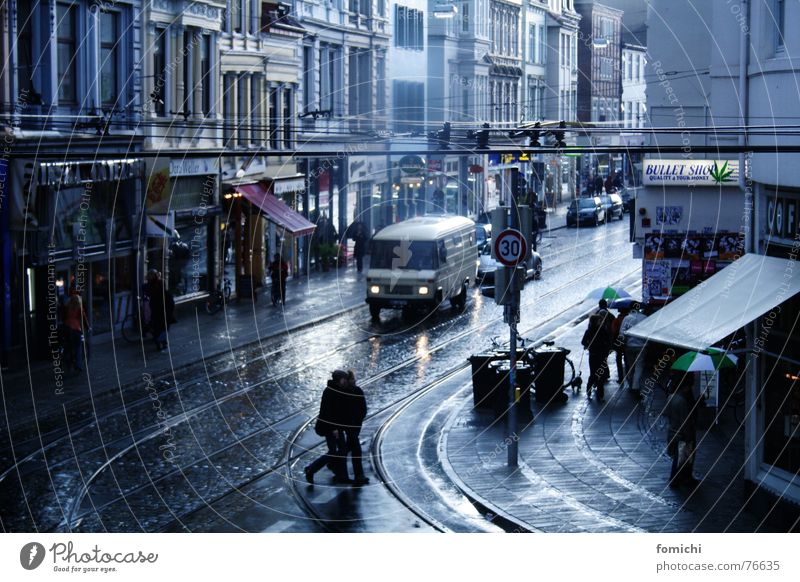 Human being City Street Rain Historic Downtown Quarter Pedestrian Bremen Old town Bad weather Former Housefront The eighties Bremen Headshop
