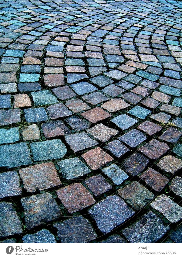 #1 Lanes & trails Stone Glittering Wet Colour Sidewalk Damp Minerals Cobblestones Floor covering Arch Curve Multicoloured Central perspective Background picture
