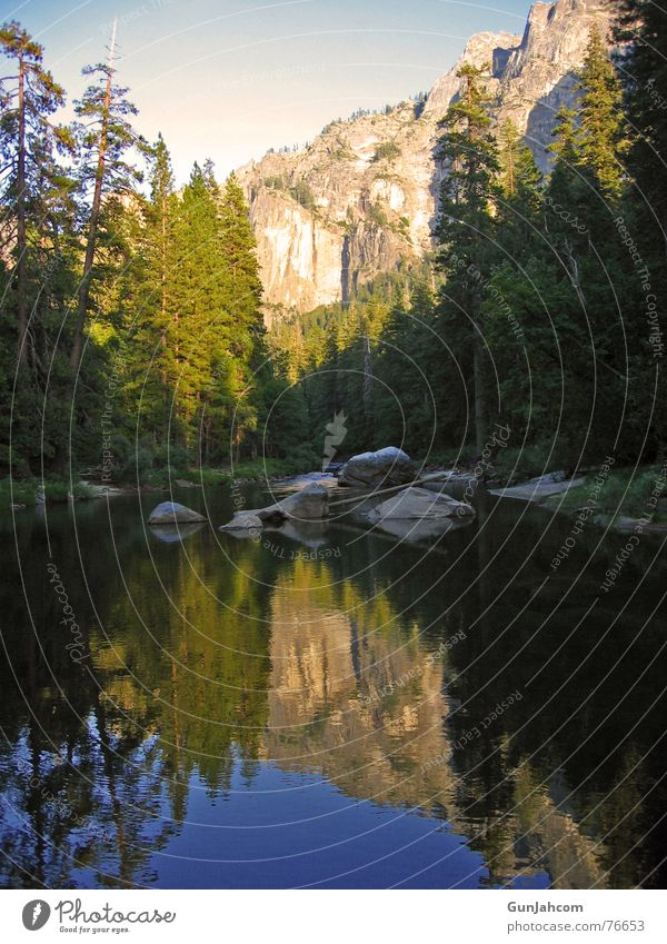 In the mirror of nature Calm Brook Yosemite National Park Contentment Mirror image Idyll Evening Reflection Nature