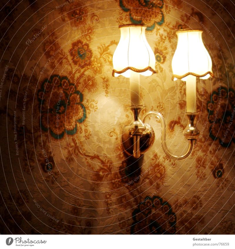 Flower Lamp Dark Lighting Kitsch Wallpaper Nostalgia Electric bulb Old fashioned Lampshade Formulated Quaint
