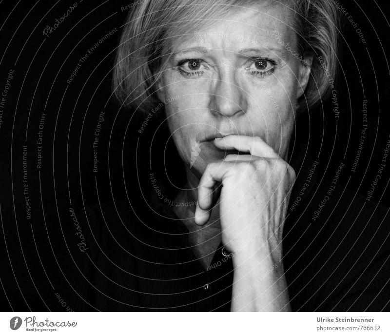 Human being Woman Old Hand Calm Dark Adults Life Senior citizen Emotions Feminine Natural Think Moody Head Meditative