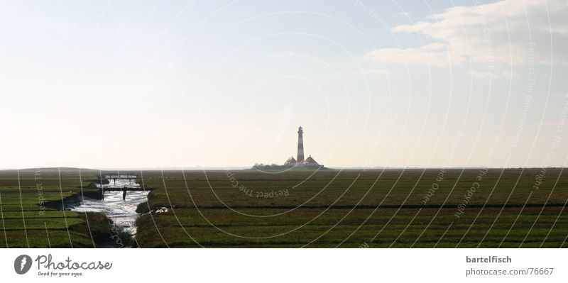 Vacation & Travel Beautiful White Ocean Red Lamp Moody Watercraft Dream Large Romance Panorama (Format) Landmark North Sea Navigation Lighthouse