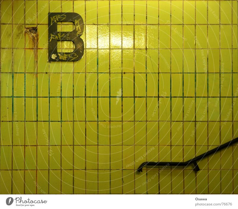 Yellow Berlin Stairs Letters (alphabet) Tile Train station Handrail Seam Platform