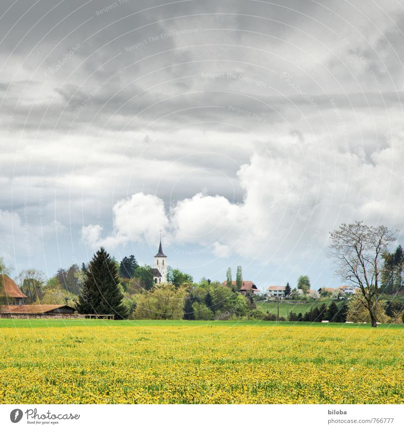 Summer Idyll Church Village Switzerland Clouds in the sky