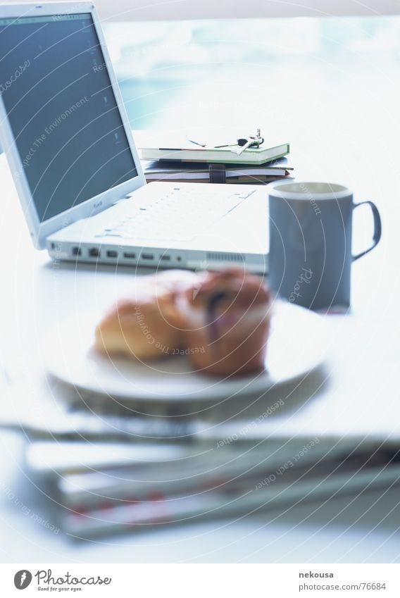 living Computer Notebook bread mug cup Newspaper plate Internet Business