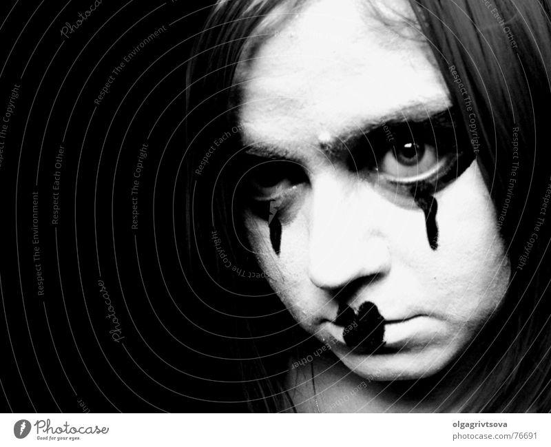 Look me in the eye! Pantomimist Make-up Hallowe'en Pout Heart-shaped Lips Eye makeup Evil Looking Mouth Eyes clown make-up