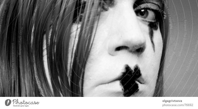 White Black Eyes Heart Lips Make-up Looking Pout Wearing makeup Pantomimist Heart-shaped