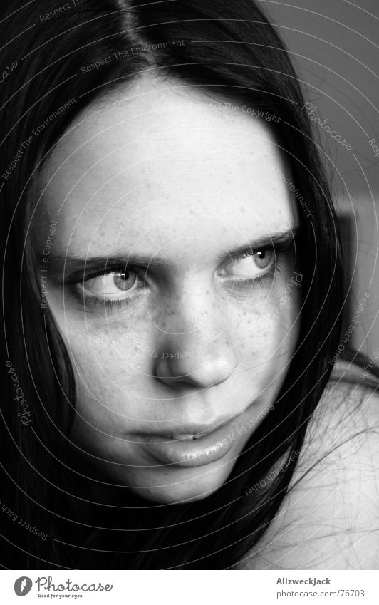 Woman Girl White Black Laughter Freckles Timidity Black-haired