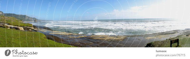 Water Sun Ocean Green Vacation & Travel Freedom Waves Coast Wind Rock Infinity Cliff New Zealand Crash Tasman sea