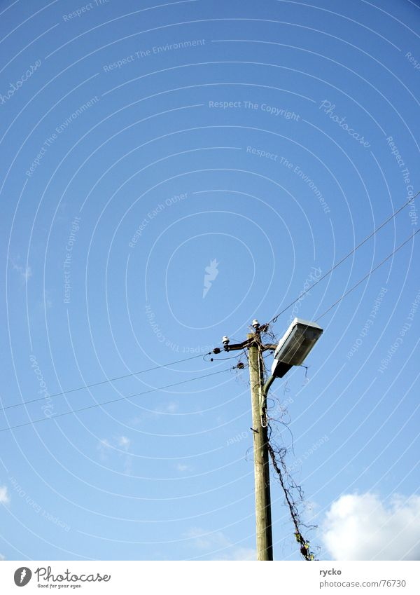 Sky Blue Plant Clouds Lamp Cable Connection Beautiful weather Electricity pylon Transmission lines
