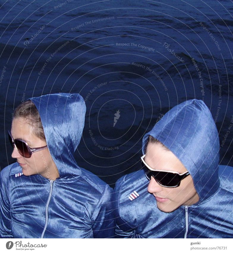 auditory cells Disc jockey Twin Glittering Water Blue sunglasses Deep