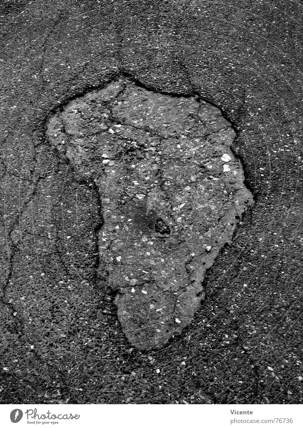 African Asphalt Pothole Black White Gray Tar Pavement Continents Silhouette Obscure Black & white photo Street Crack & Rip & Tear Hollow Stone tarmac road grey