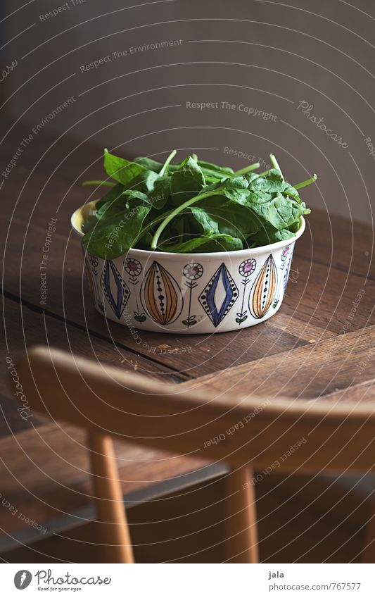 baby spinach Food Vegetable Lettuce Salad Spinach Spinach leaf Nutrition Organic produce Vegetarian diet Bowl Furniture Chair Table Wooden table Simple Fresh