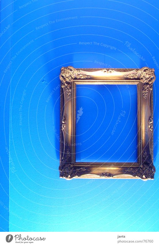 Old Blue Wall (building) Room Art Gold Empty Culture Image Living or residing Frame Picture frame