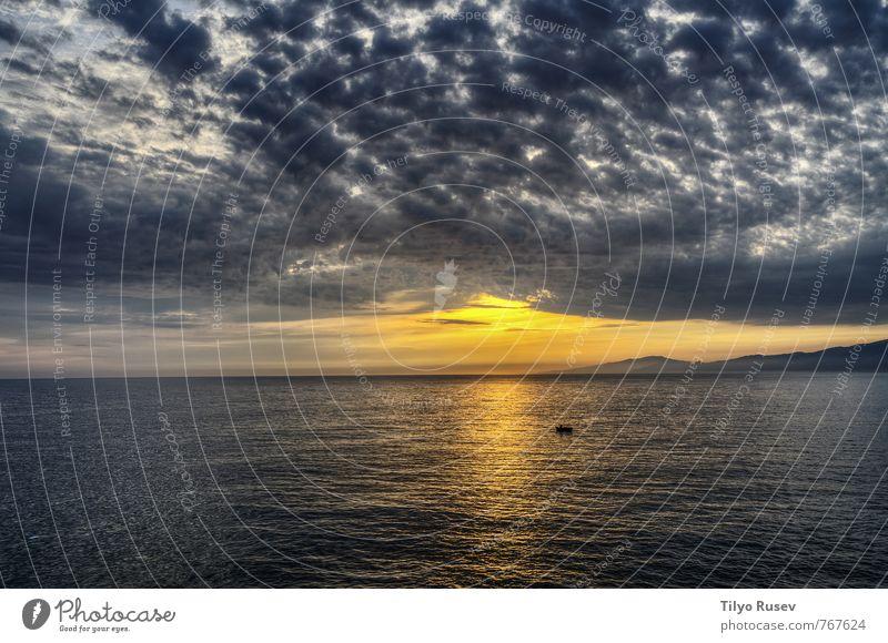 Sunset over the ocean Sky Nature Beautiful Ocean Landscape Clouds Dark Horizon Weather Waves Europe Vantage point Spain Flow Atlantic Ocean