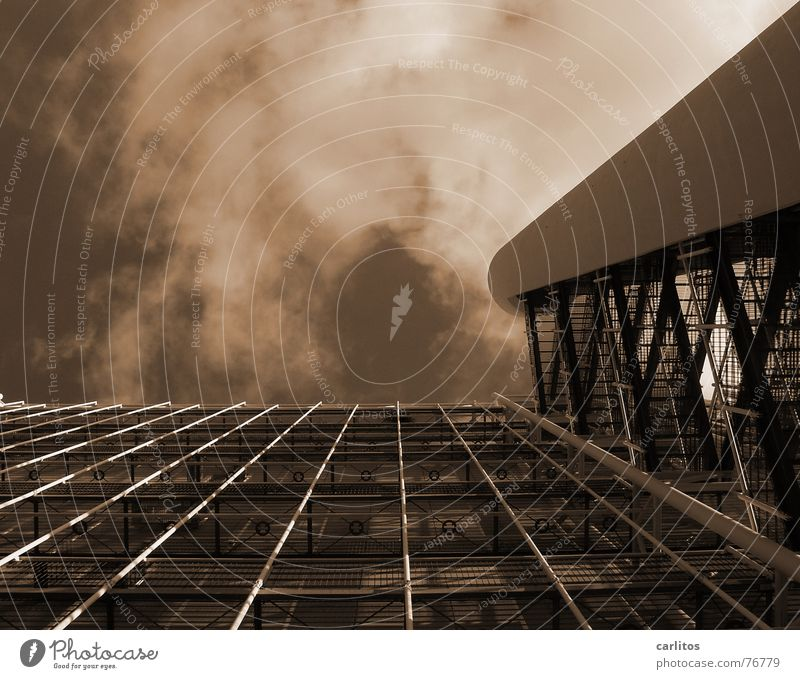 Image does not form alone High-rise Fire ladder Safety Grating Metal grid Hallway Footbridge emergency staircase Perspective Black & white photo