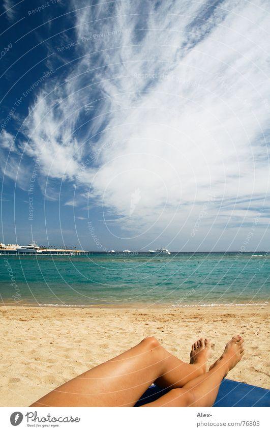 Woman Water Sky Sun Ocean Blue Summer Beach Vacation & Travel Clouds Relaxation Lake Warmth Sand Legs Watercraft