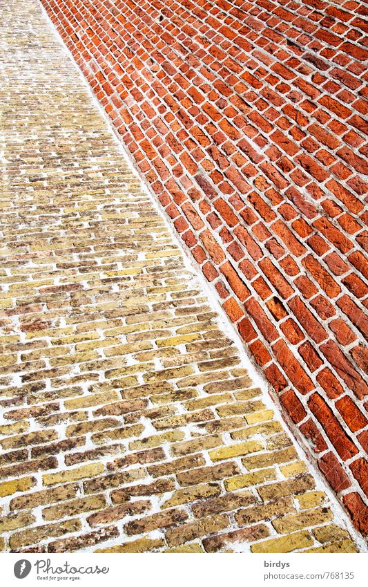 brick graphic Wall (barrier) Wall (building) Brick Esthetic Exceptional Uniqueness Long Positive Yellow Red Colour Symmetry Diagonal Graphic