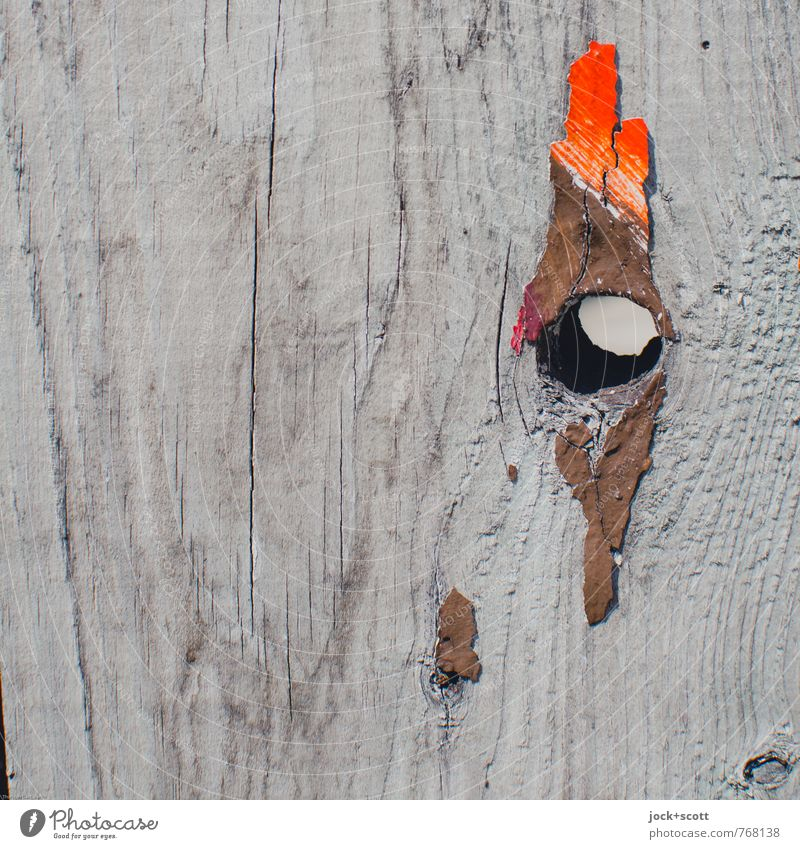 eye, comb (cock) Subculture Knothole Decoration Wooden board Paint traces Simple Broken Transience Cockscomb Street art Associative Hollow Layer of paint
