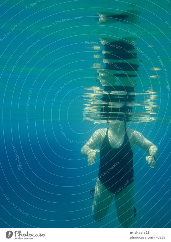 Headless we go under Girl European Woman Swimsuit Black Drown Underwater photo Mystic Dive Reflection Waves Hover Emerge Ocean Swimming pool Cold Ease Go under