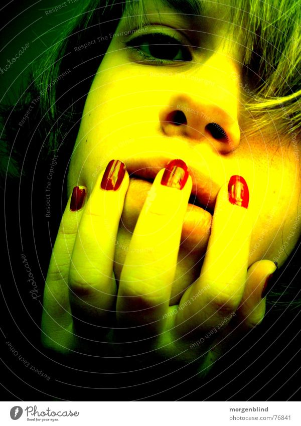 Woman Green Red Face Eyes Yellow Emotions Moody Blood Fingernail Snapshot Light and shadow