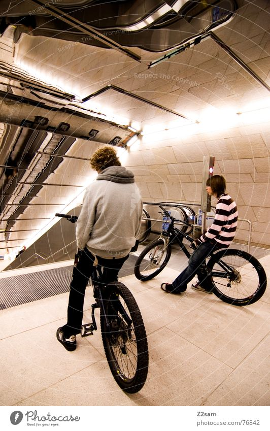 who's going first? First 2 Mountain bike Jump Driving Trick Stunt Action Mirror Underground Railroad Escalator Physics Stand Easygoing Lifestyle Style