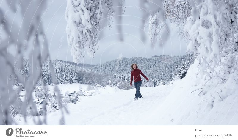 Woman Beautiful Tree Red Joy Winter Forest Cold Snow Playing Laughter Dance Vantage point Soft Village Fir tree