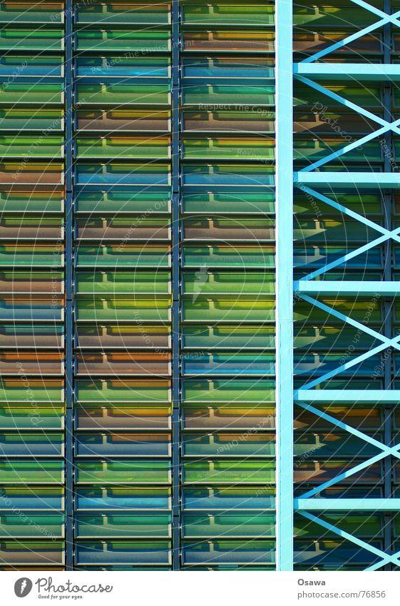 multi-storey car park Building Parking garage Parking lot Facade Multicoloured Carrier Half-timbered facade parking management Glass Disk Architecture