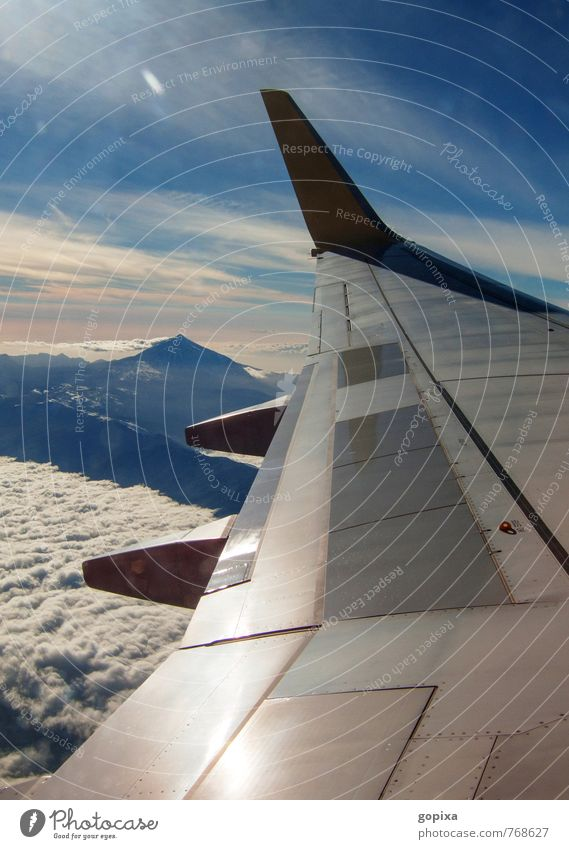 Vacation & Travel Blue Clouds Far-off places Environment Mountain Moody Flying Tourism Aviation Perspective Vantage point Airplane Infinity Spain Longing