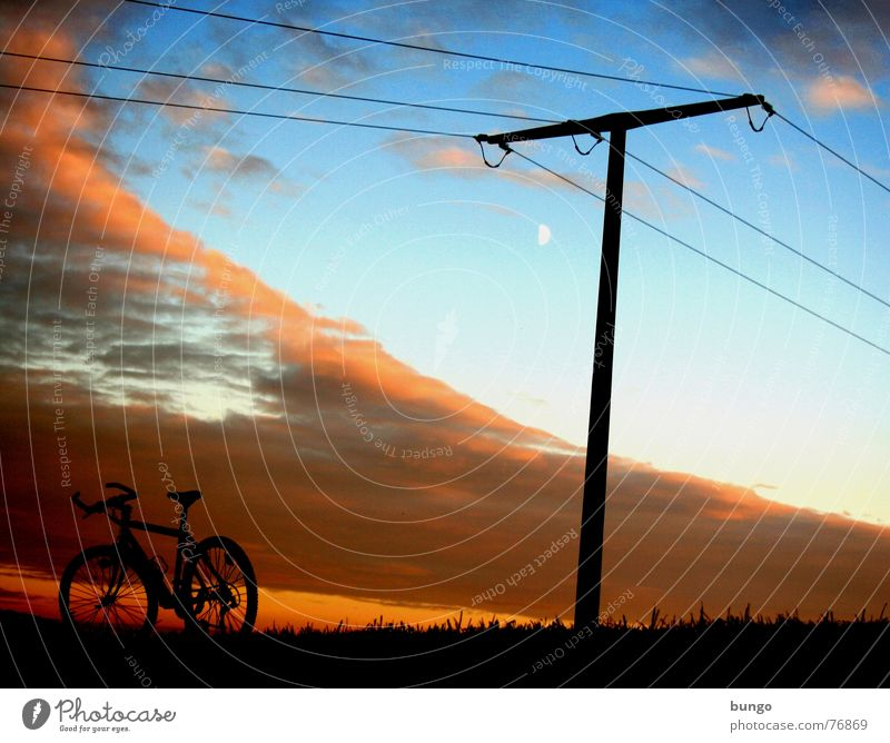 Nature Sky Tree Calm Clouds Loneliness Life Dark Relaxation Autumn Mountain Dream Landscape Bicycle Orange Horizon