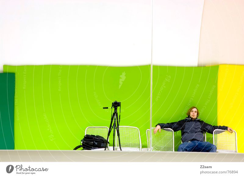 Human being Green Colour Relaxation Wall (building) Photography Wait Sit Bench Camera Mirror Photographer Seating Take a photo Mirror image Backpack