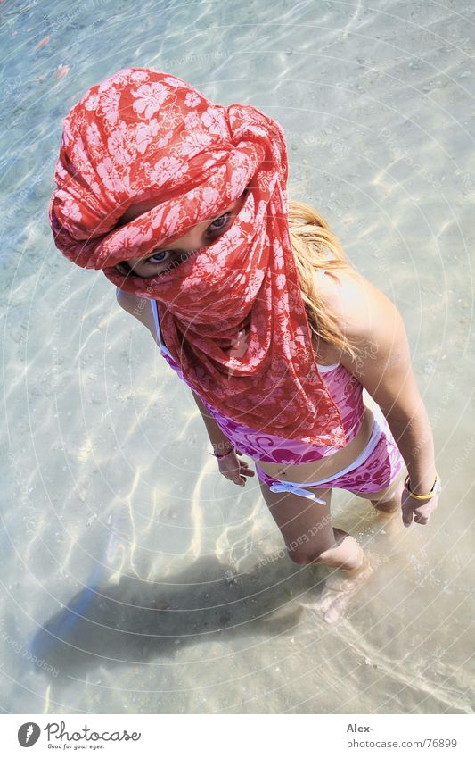 From head to chin - Arab woman Arabia Arabien Ocean Child Girl Turban Swimsuit Generous Stand Small Summer Vacation & Travel Egypt Beach Flower Pattern Bird