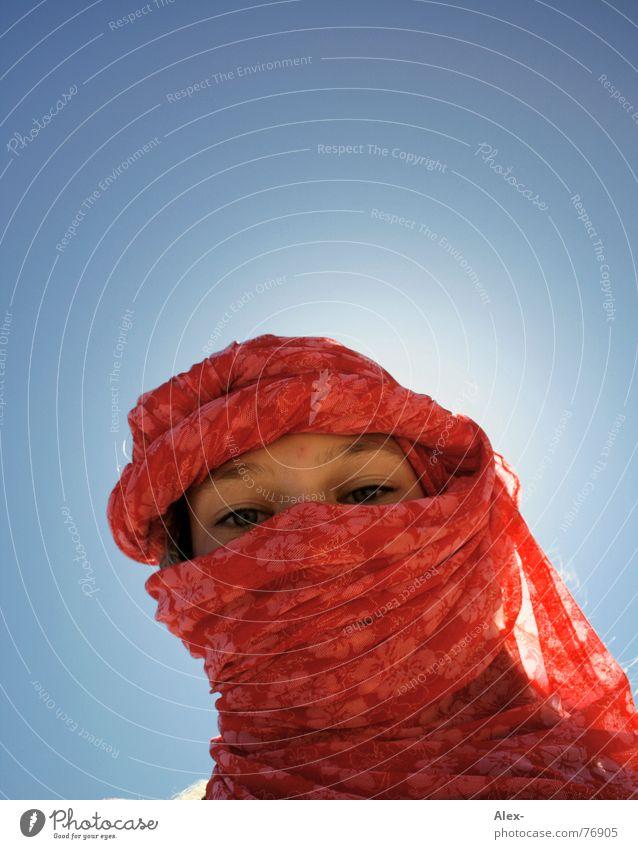 Girl Sky Sun Blue Loneliness Death Warmth Religion and faith Lighting Desert Physics Tourist Surprise God Rag Thirst