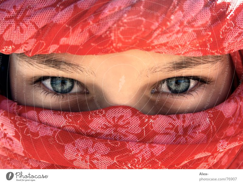 Get rid of yourself Turban Headscarf Arabia Arabien Egypt Red Flower Pattern Deep Beautiful Shackled Physics Hot Child Girl Peoples Resident Eyes Blue Rag