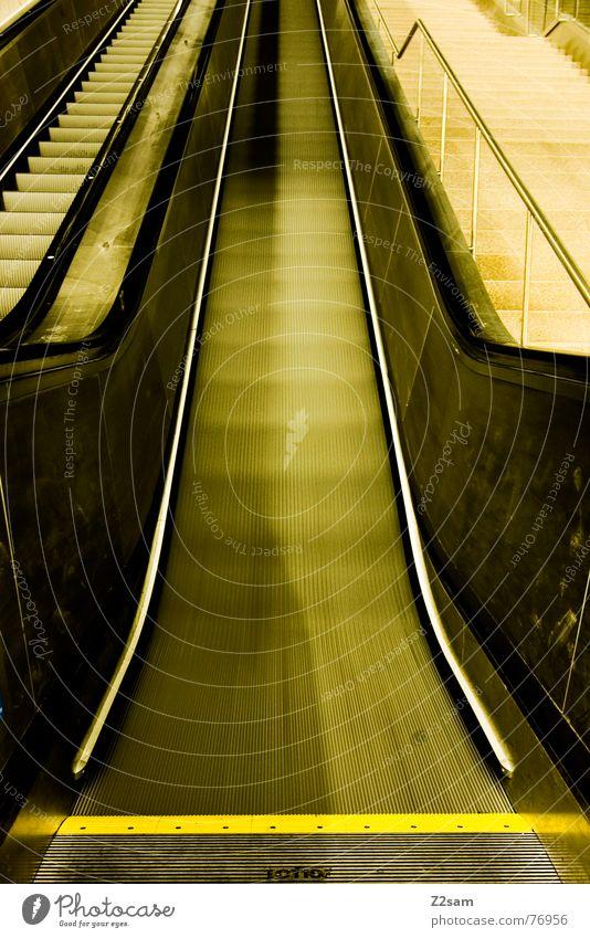 Yellow Line Going Railroad Speed Stairs Underground Upward Flat Comfortable Escalator Garching