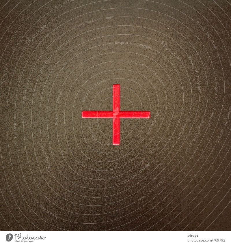 + Metal Sign Crucifix Esthetic Simple Positive Brown Green Red Calm Accuracy Symmetry Target Middle Plus 1 Symbols and metaphors Mathematics Colour photo