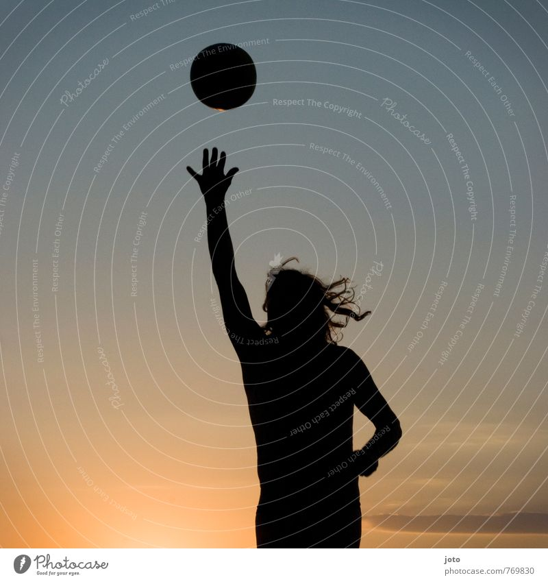 active Lifestyle Joy Leisure and hobbies Playing Vacation & Travel Summer Summer vacation Sun Sports Sportsperson Volleyball (sport) Ball Young man