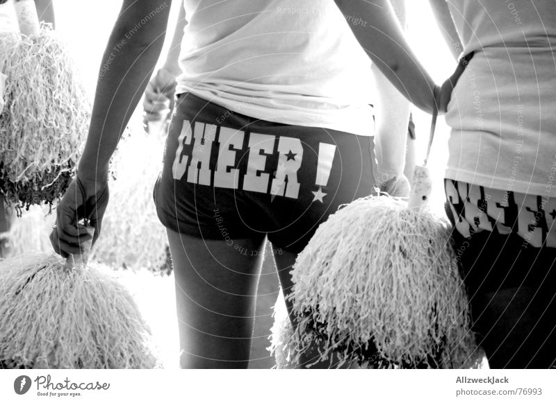 Cheer! Cheerleader Applause Black White Woman Hind quarters Rear view Tuft Black & white photo things cheer